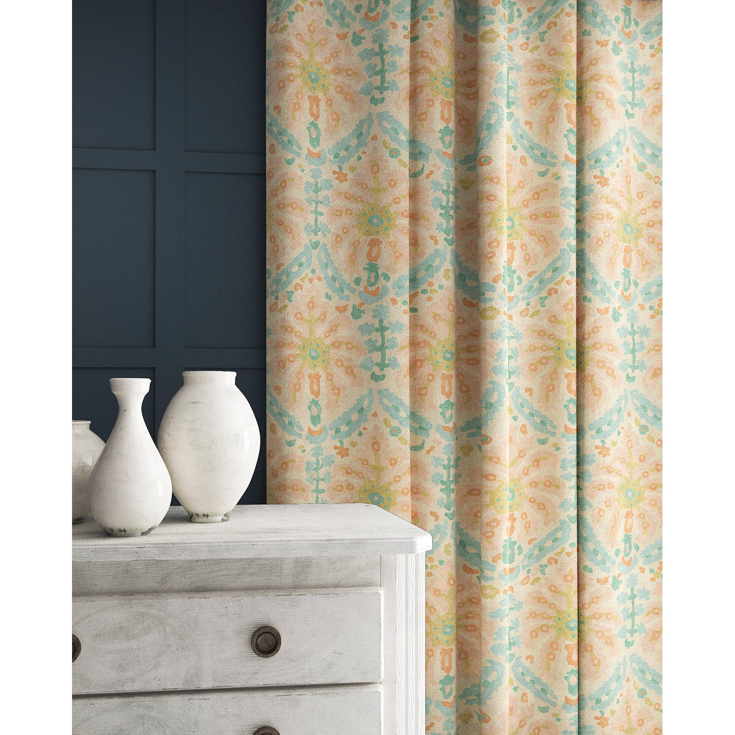 Curtain in a pastel blue and pink wool fabric with abstract palm design