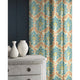 Curtain in a blue and orange wool fabric with abstract palm design