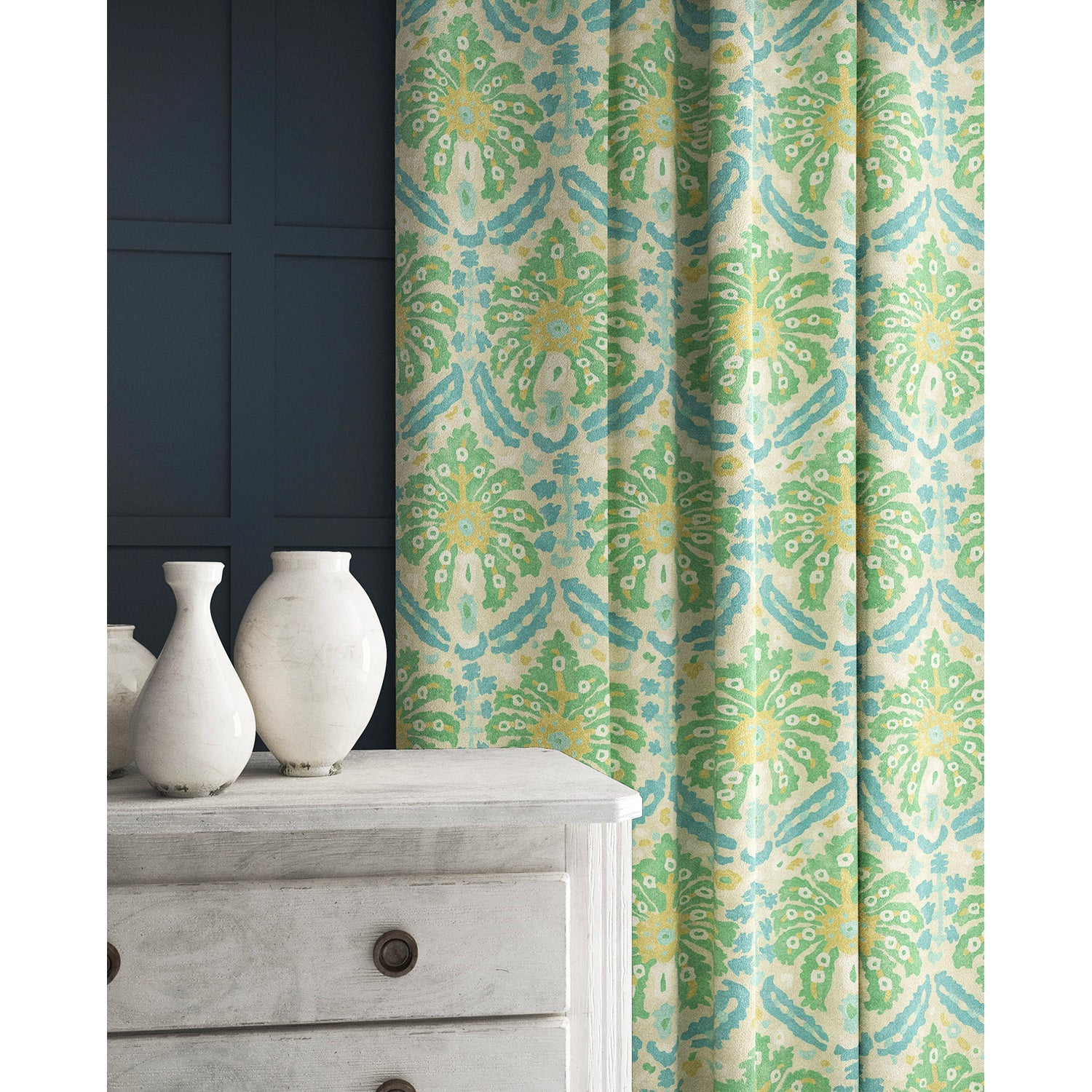 Curtain in a blue and green wool fabric with abstract palm design