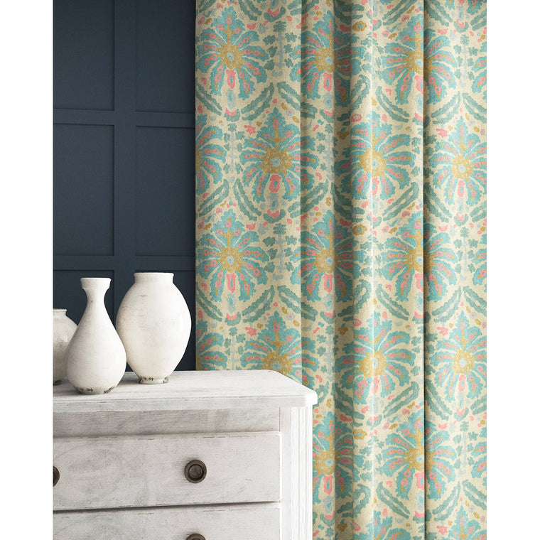 Curtain in a blue and pink wool fabric with abstract palm design