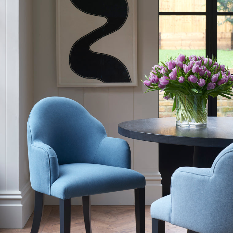 Chair in a eco-friendly plain blue fabric for curtains and upholstery