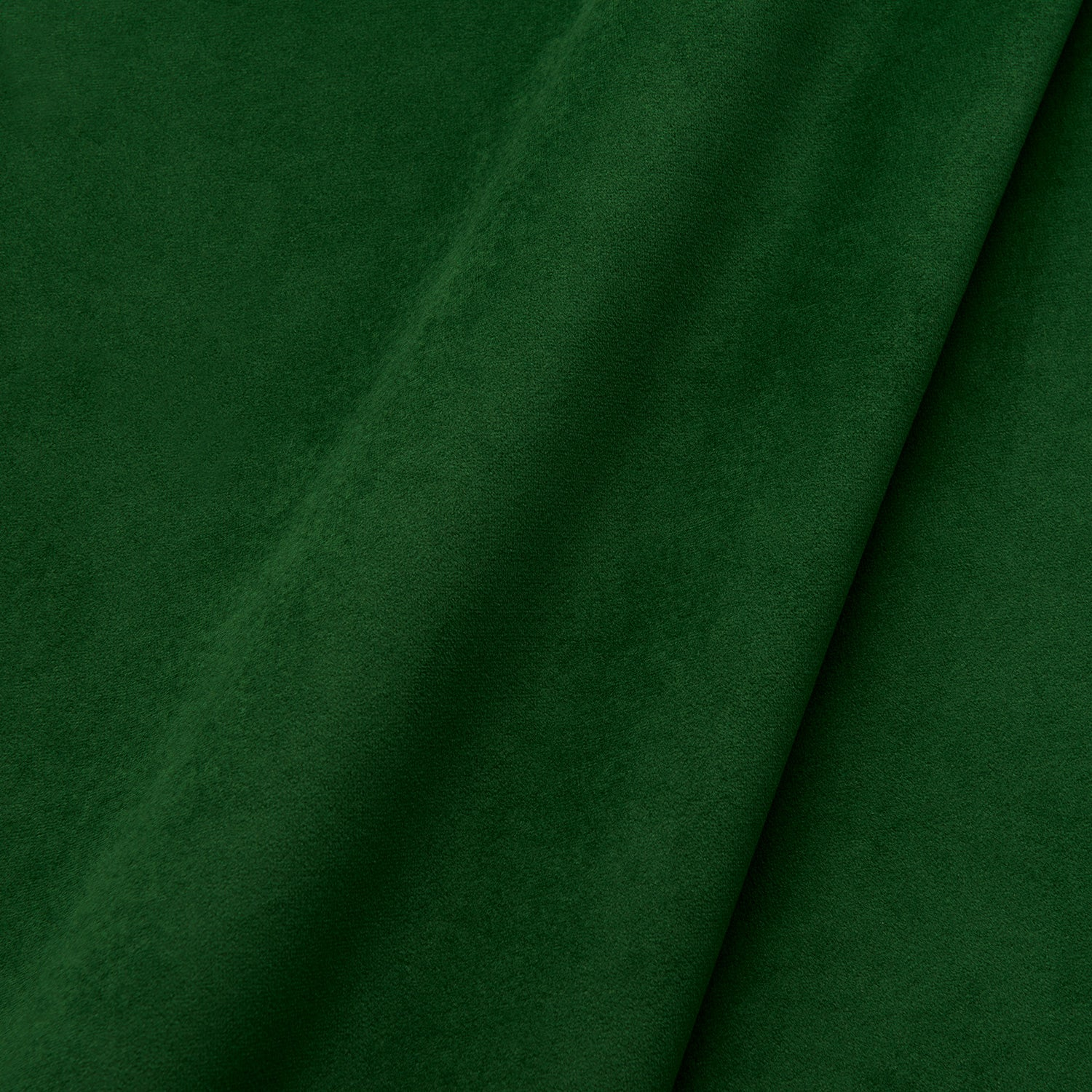 Fabric swatch of a plain stain resistant velvet upholstery fabric in a dark green colour