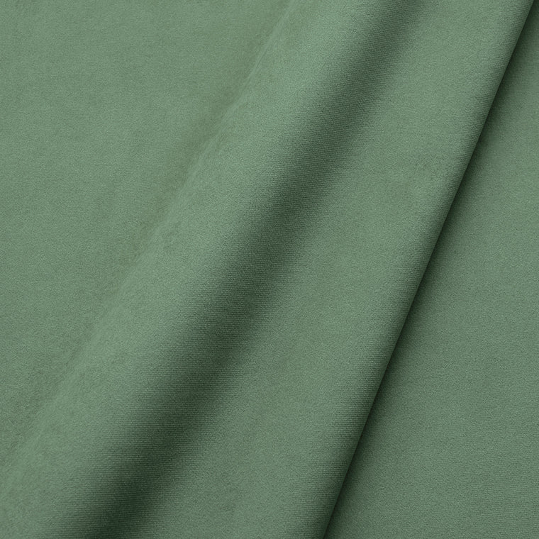 Fabric swatch of a plain stain resistant velvet upholstery fabric in a sage green colour