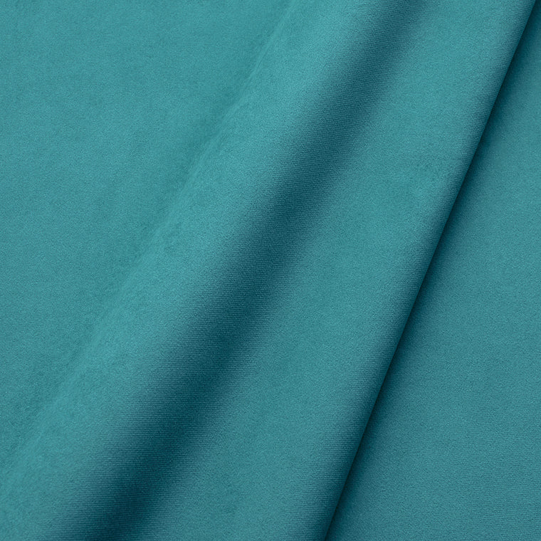 Fabric swatch of a plain stain resistant velvet upholstery fabric in a blue colour