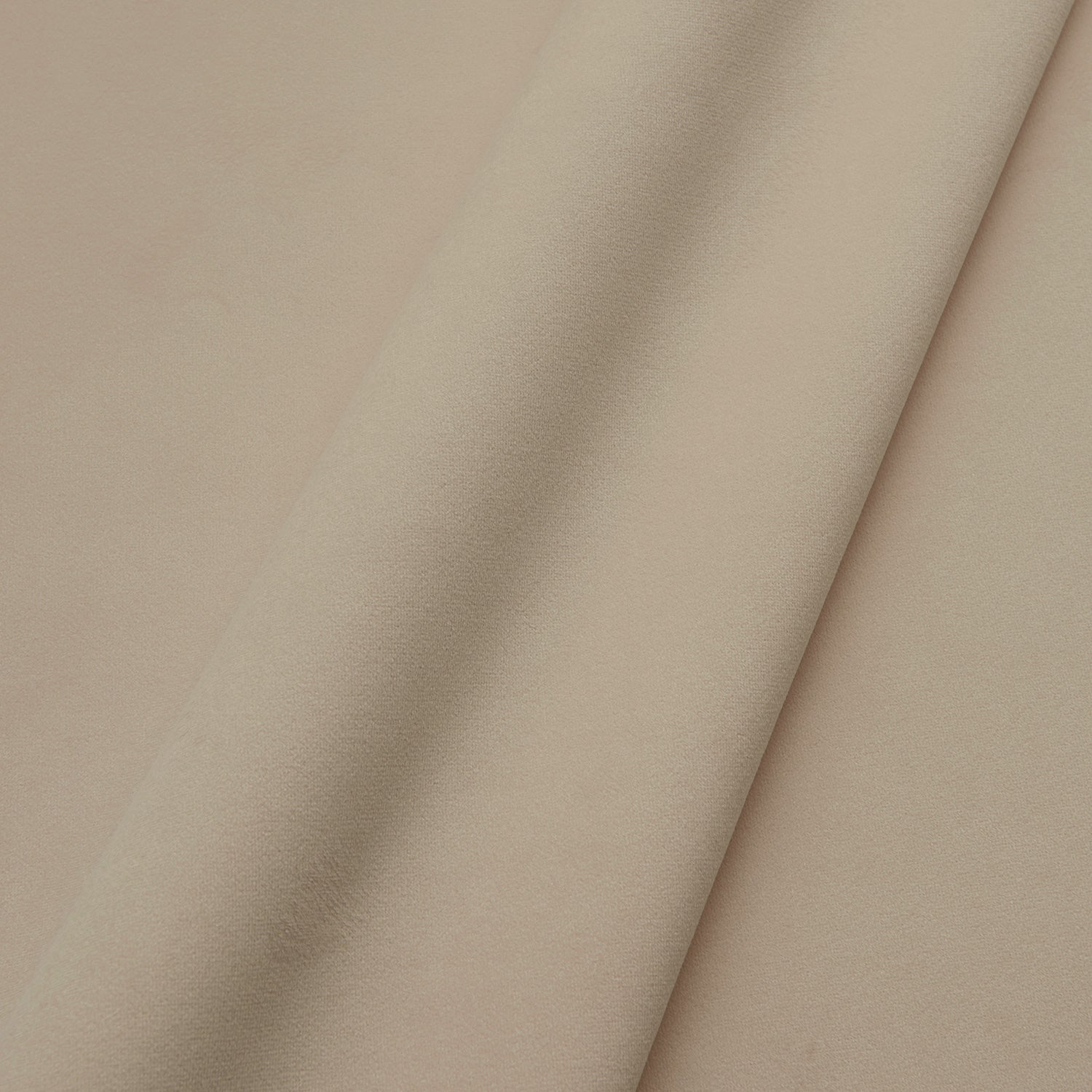 Fabric swatch of a plain stain resistant velvet upholstery fabric in neutral colour