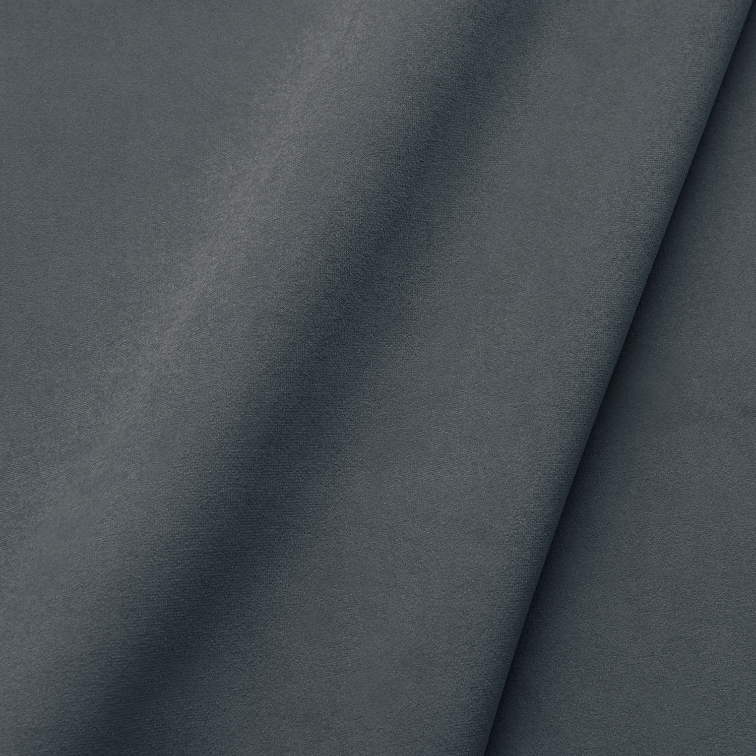 Fabric swatch of a plain stain resistant velvet upholstery fabric in a dark grey colour