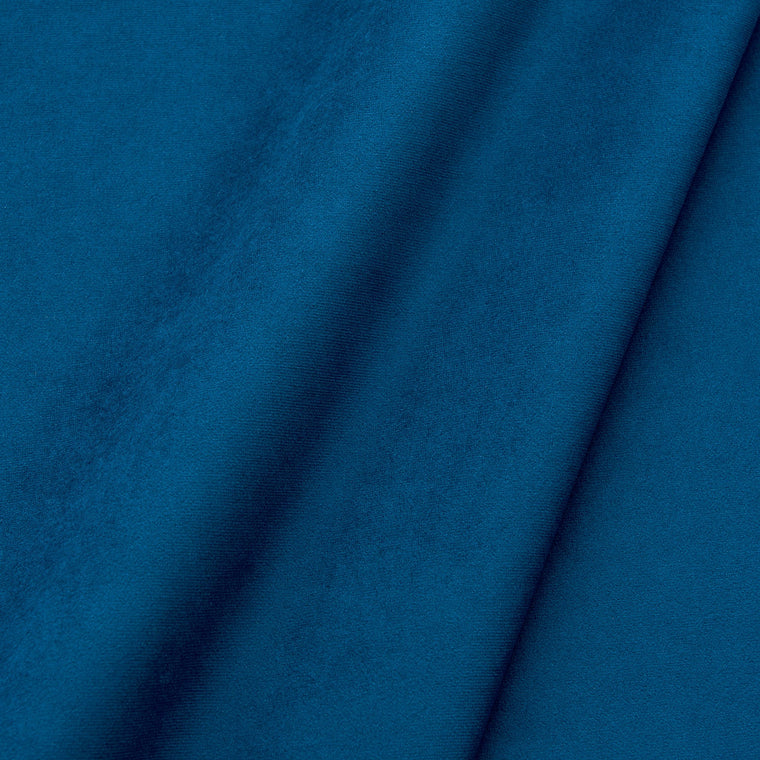 Fabric swatch of a plain stain resistant velvet upholstery fabric in a royal blue colour