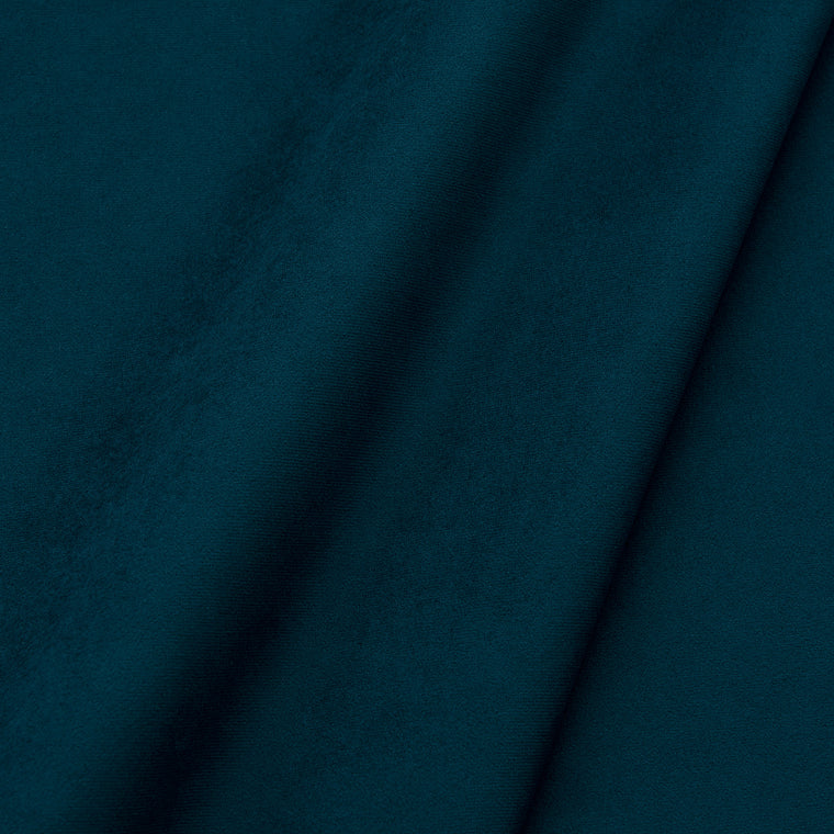 Fabric swatch of a plain stain resistant velvet upholstery fabric in a dark blue colour