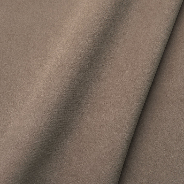 Fabric swatch of a plain stain resistant velvet upholstery fabric in a brown colour