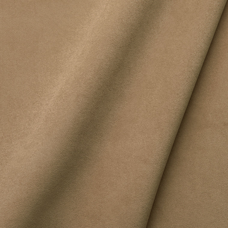 Fabric swatch of a plain stain resistant velvet upholstery fabric in a tan colour