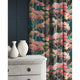 Velvet curtains in a dark blue and pink velvet fabric with stain resistant finish and tree design
