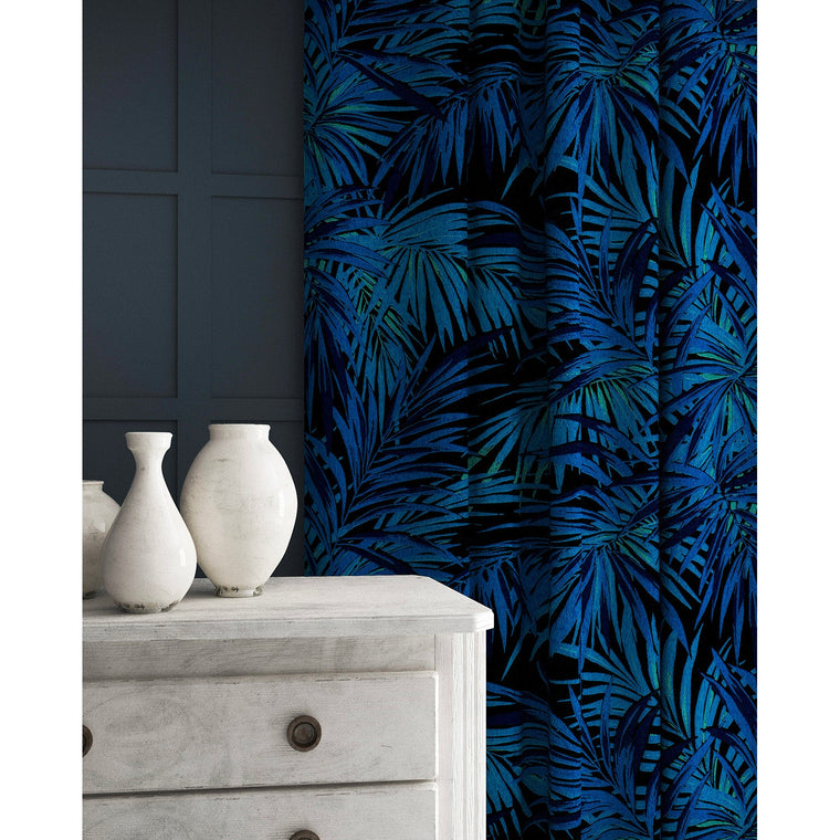 Velvet curtains in a electric blue coloured velvet fabric with stain resistant finish and palm tree leaf design