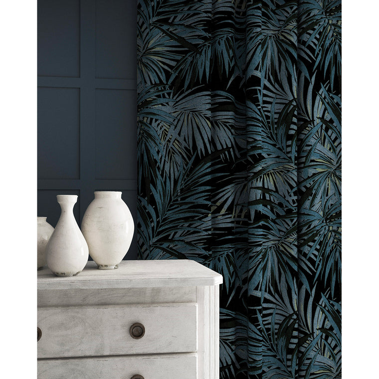 Velvet curtains in a smokey blue coloured velvet fabric with stain resistant finish and palm tree leaf design