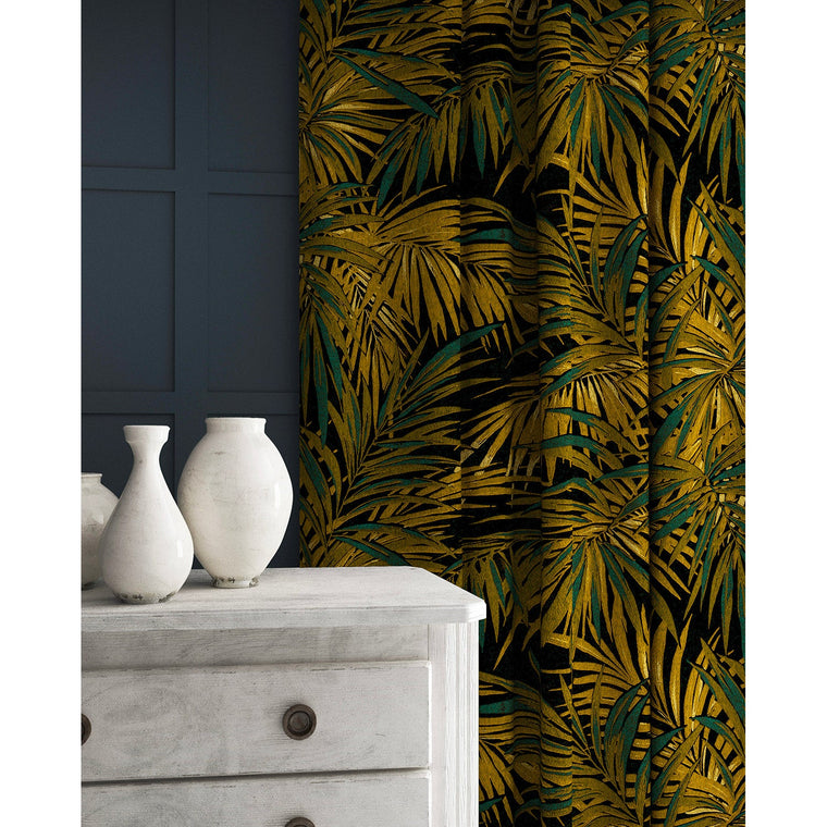 Velvet curtains in a gold and teal coloured velvet fabric with stain resistant finish and palm tree leaf design