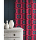 Velvet curtains in a dark pink and blue velvet fabric with stain resistant finish and abstract print