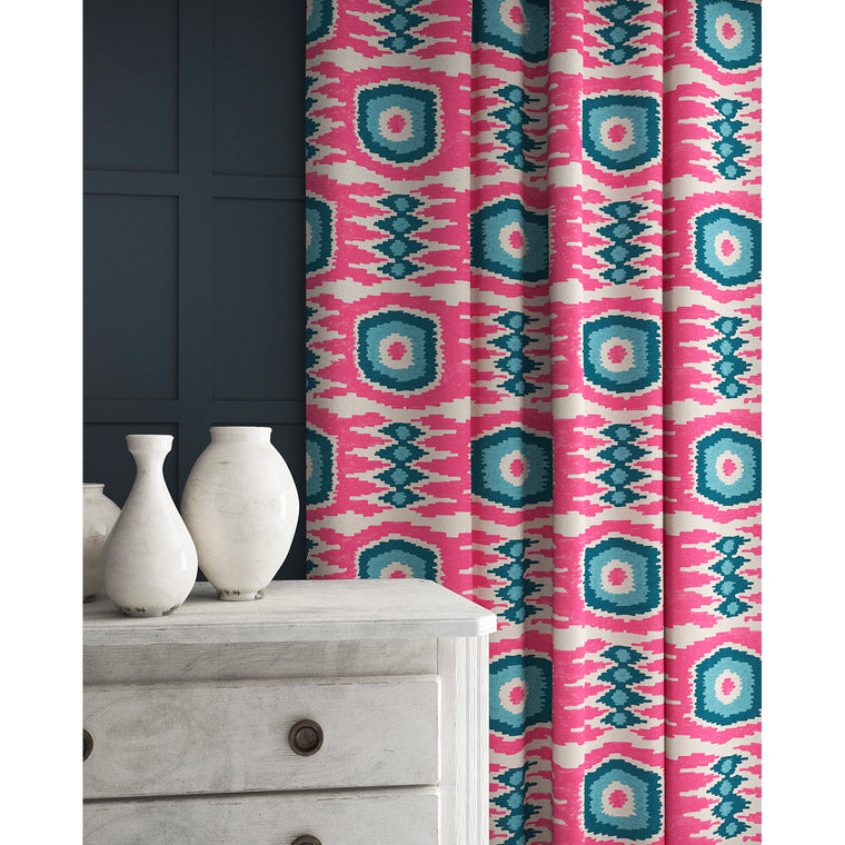 Curtains in a pink and blue velvet fabric with stain resistant finish and abstract print