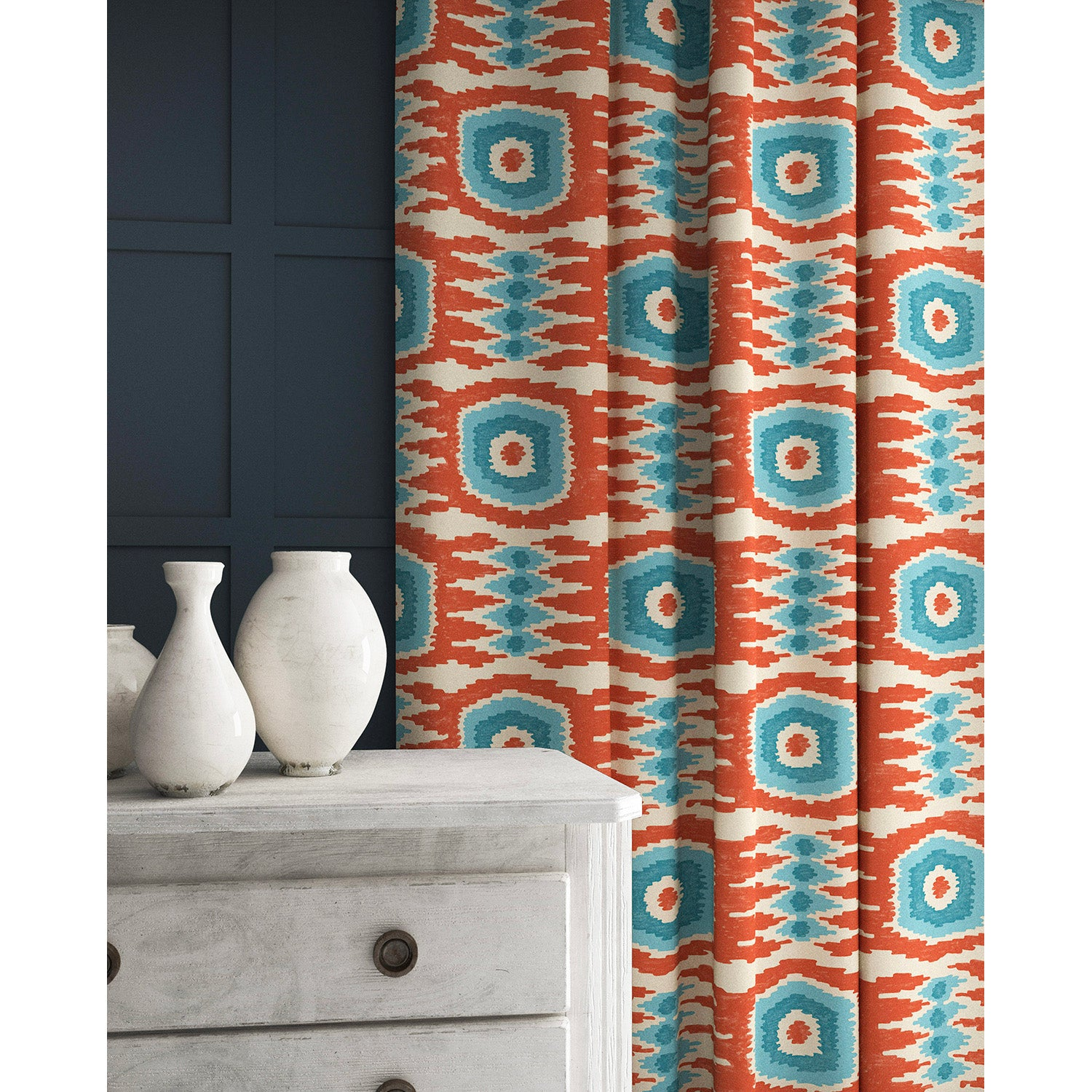 Velvet curtains in a orange and blue velvet fabric with stain resistant finish and abstract print