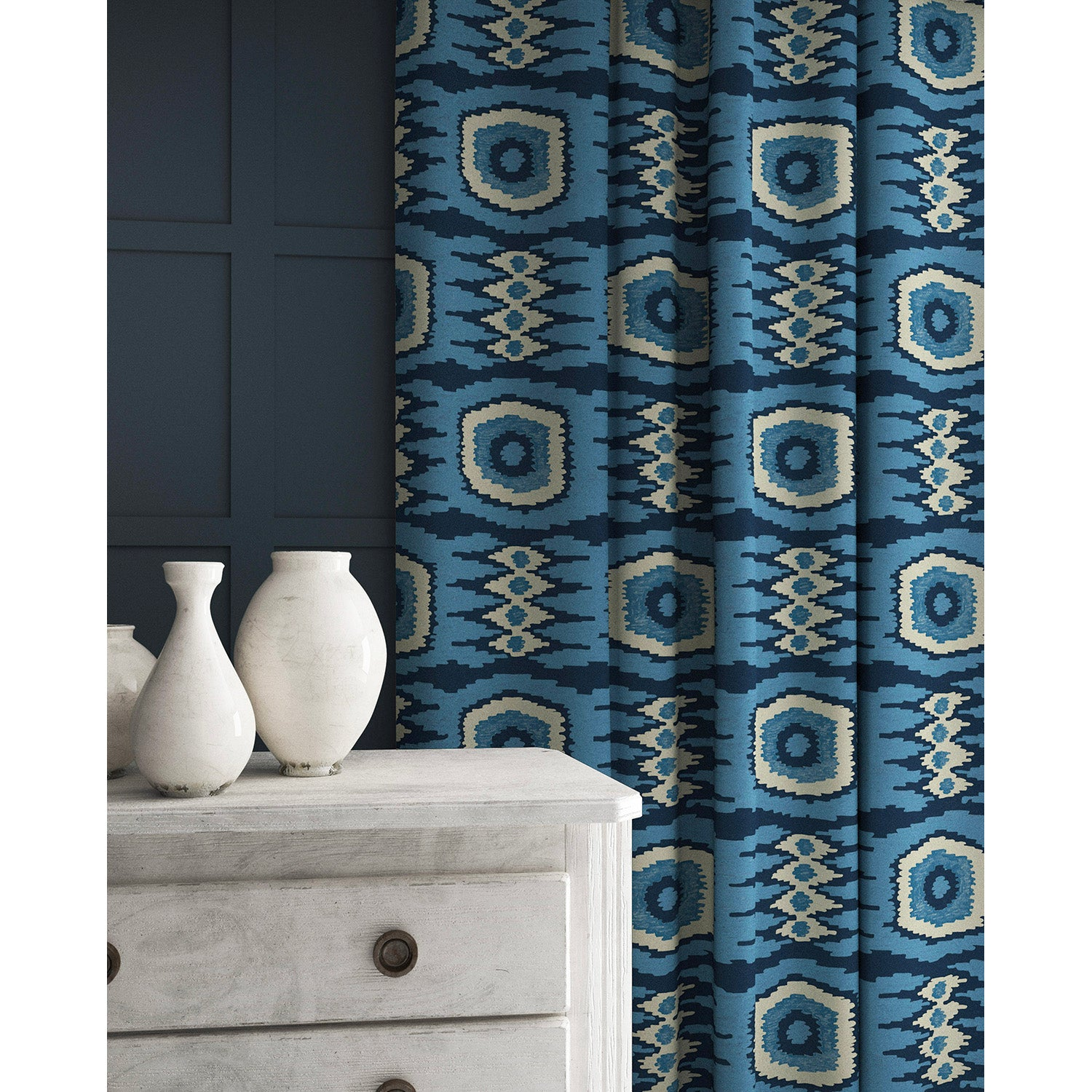 Curtains in a blue velvet fabric with stain resistant finish and abstract print