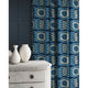Velvet curtains in a blue velvet fabric with stain resistant finish and abstract print