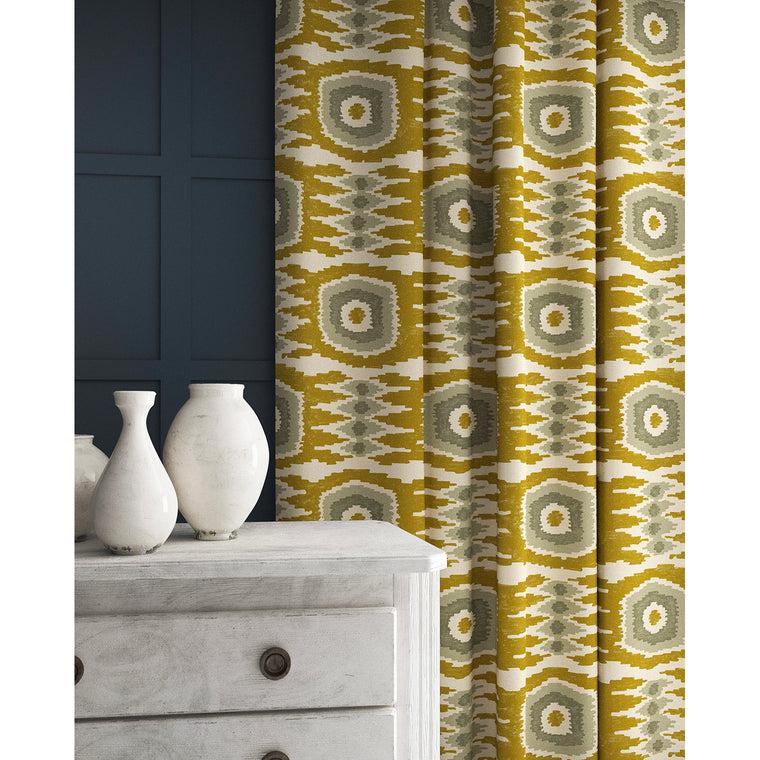 Curtains in a ochre and grey velvet fabric with stain resistant finish and abstract print