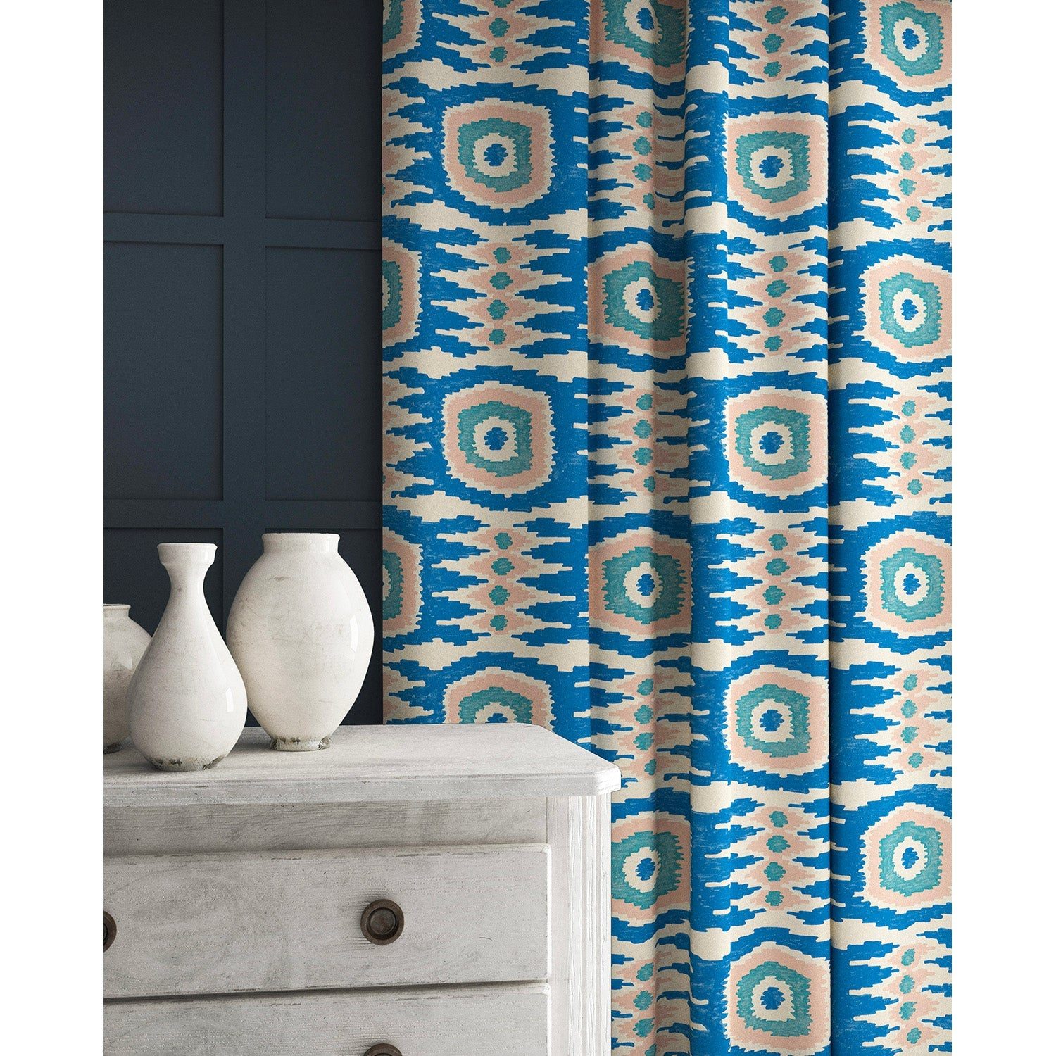 Curtains in a light pink and blue velvet fabric with stain resistant finish and abstract print