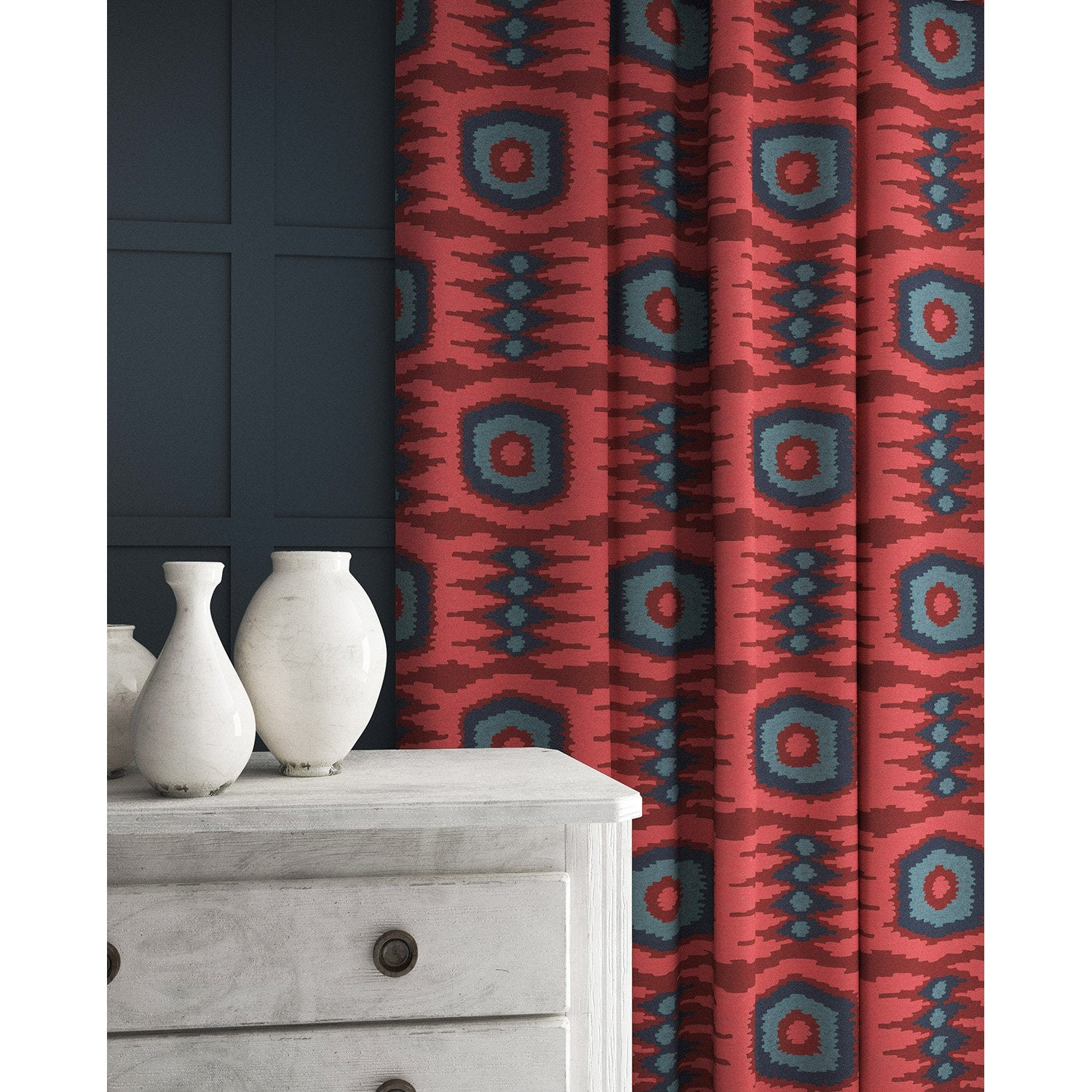 Velvet curtains in a red and blue velvet fabric with stain resistant finish and abstract print