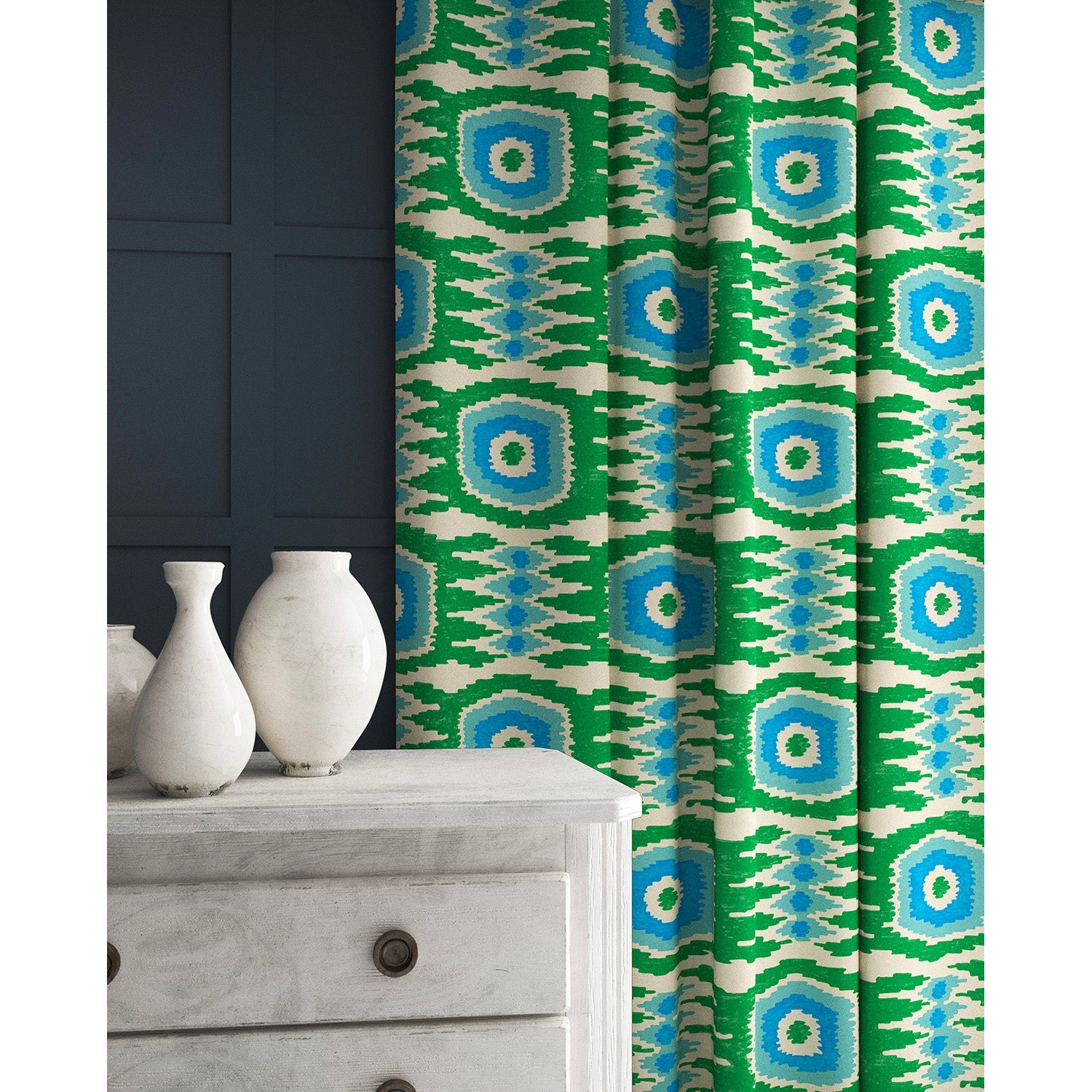 Velvet curtains in a green and blue velvet fabric with stain resistant finish and abstract print