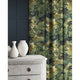 Velvet curtains in a green coloured velvet fabric with stain resistant finish and tree design