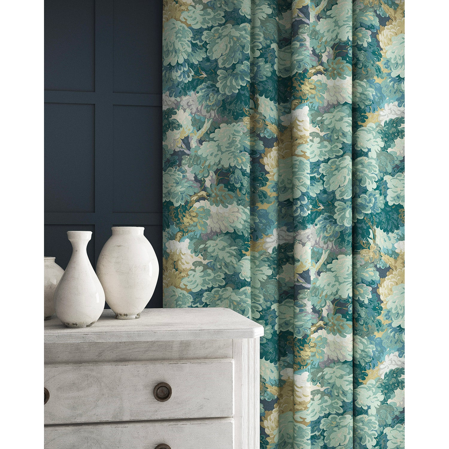 Curtains in a teal coloured velvet fabric with stain resistant finish and tree design