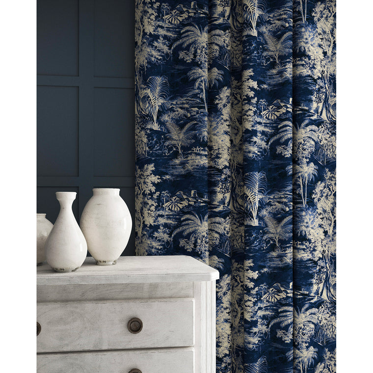 Velvet curtain in a indigo blue and white velvet fabric with stain resistant finish and palm tree design