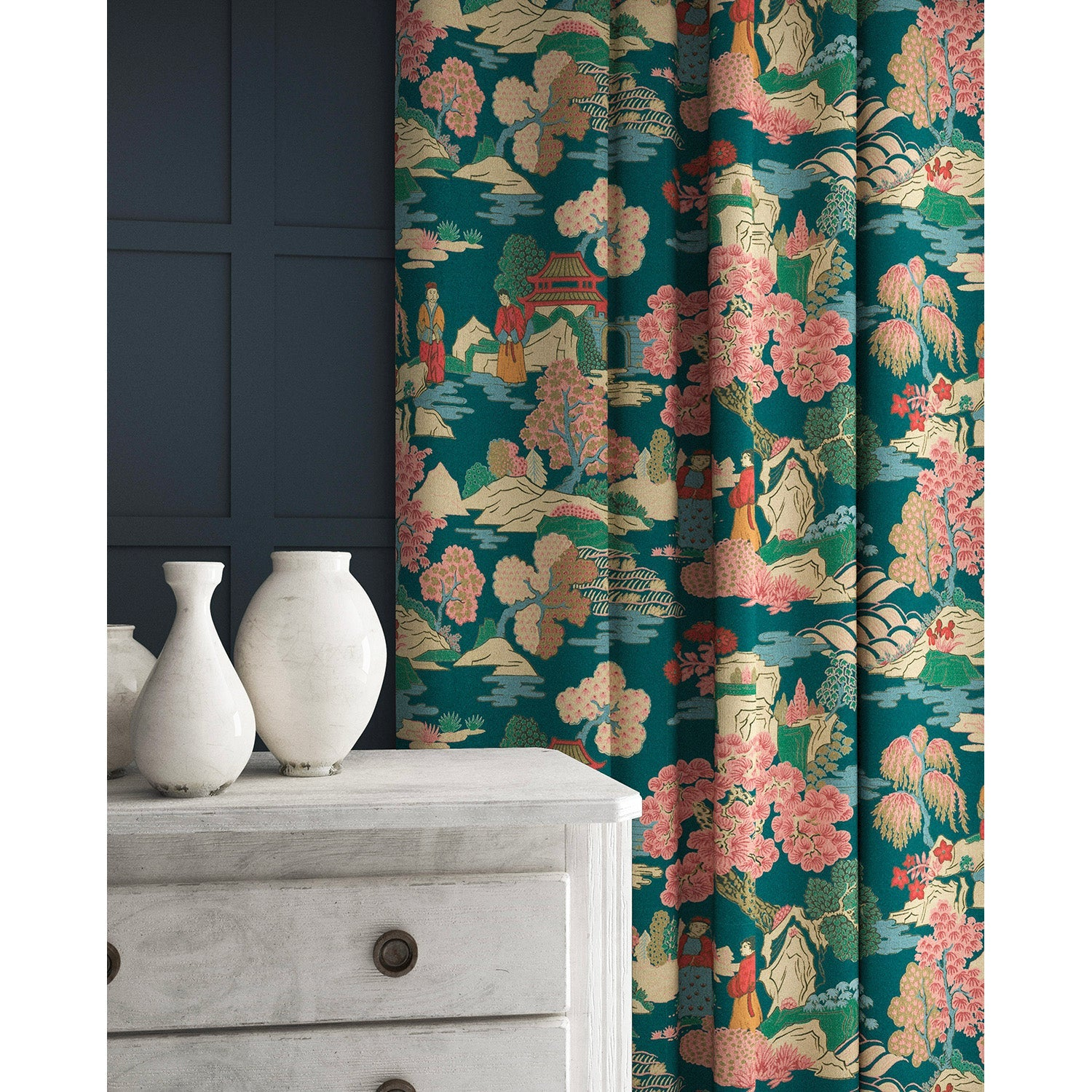 Velvet curtains in a teal and pink velvet fabric with Japanese inspired design and stain resistant finish