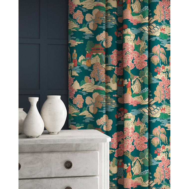 Curtains in a teal and pink velvet fabric with Japanese inspired design and stain resistant finish