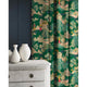 Velvet curtains in a green and pink velvet fabric with Japanese inspired design and stain resistant finish