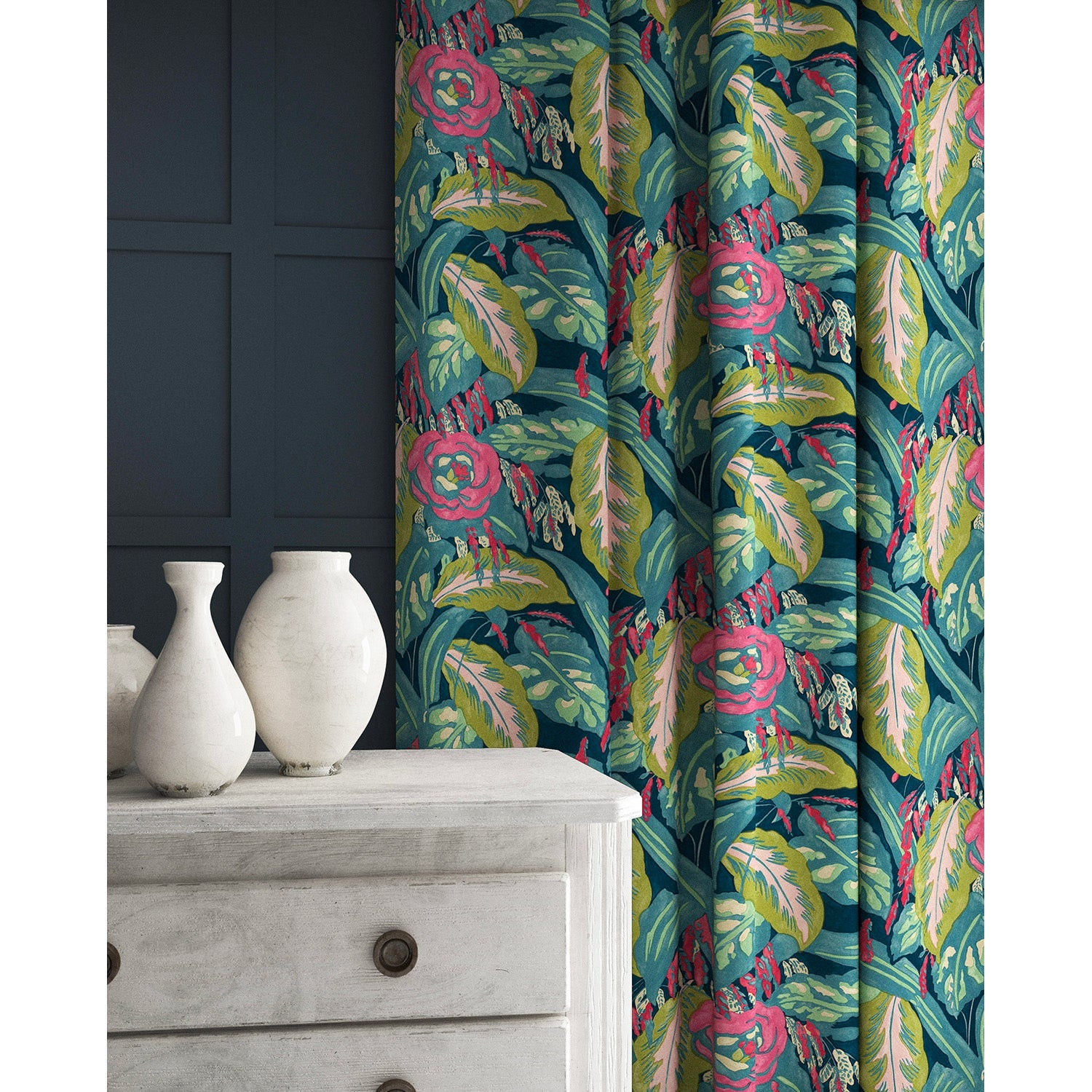 Velvet curtains in a pink and teal velvet floral fabric with a stain resistant finish