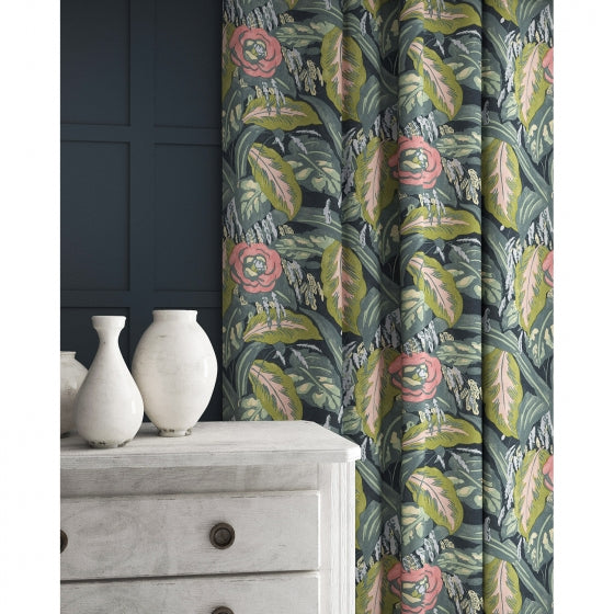 Velvet curtains in a pink and blue velvet floral fabric with a stain resistant finish