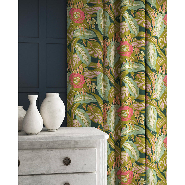 Velvet curtains in a ochre and teal velvet floral fabric with a stain resistant finish