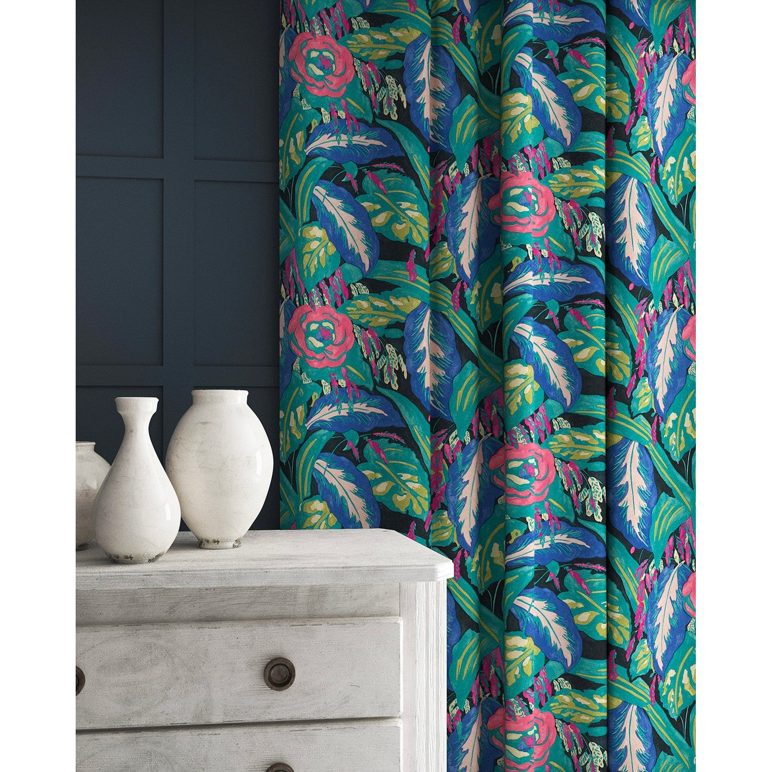 Velvet curtains in a purple and teal velvet floral fabric with a stain resistant finish