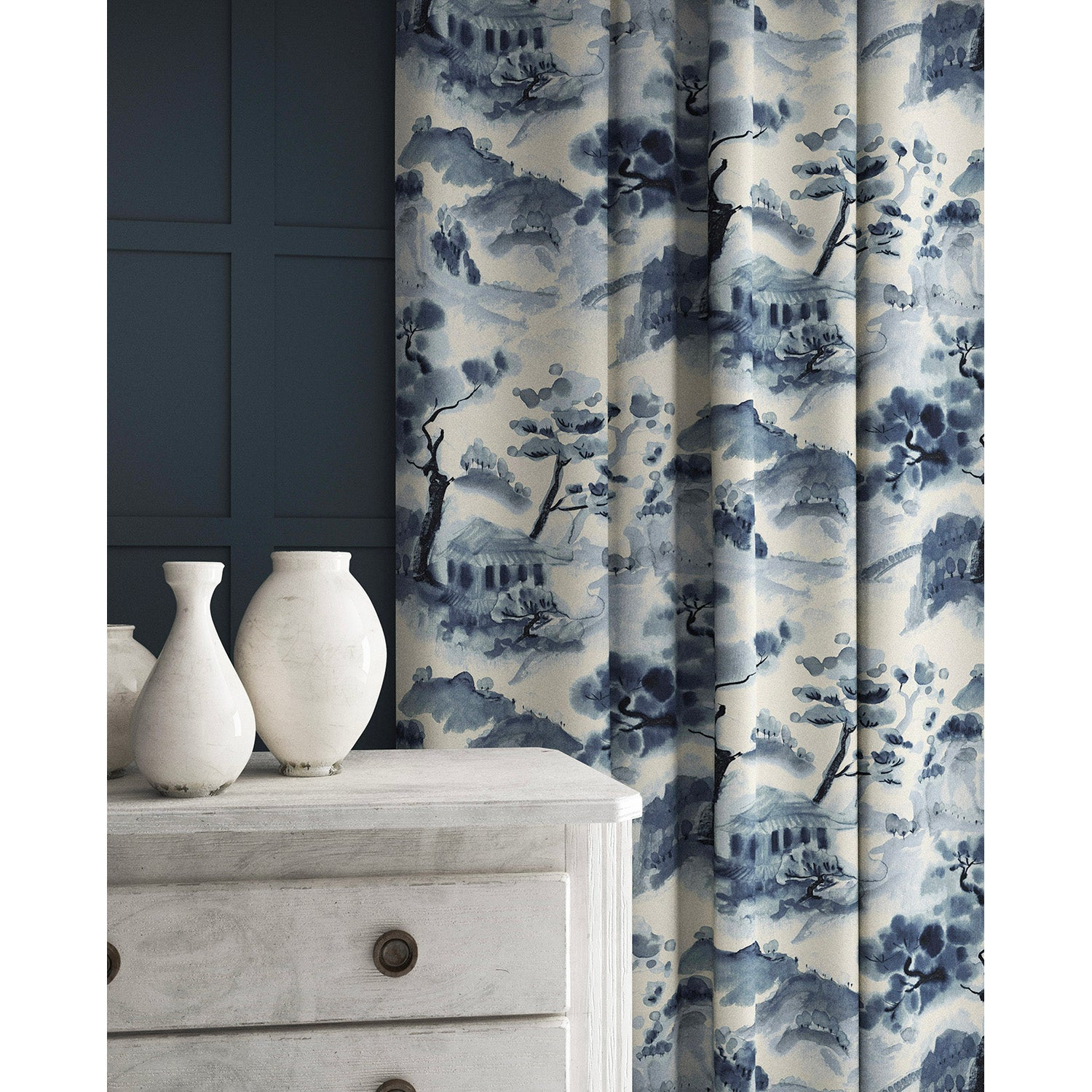Velvet curtains in a velvet fabric with stain resistant finish and oriental design in white and ink blue colours