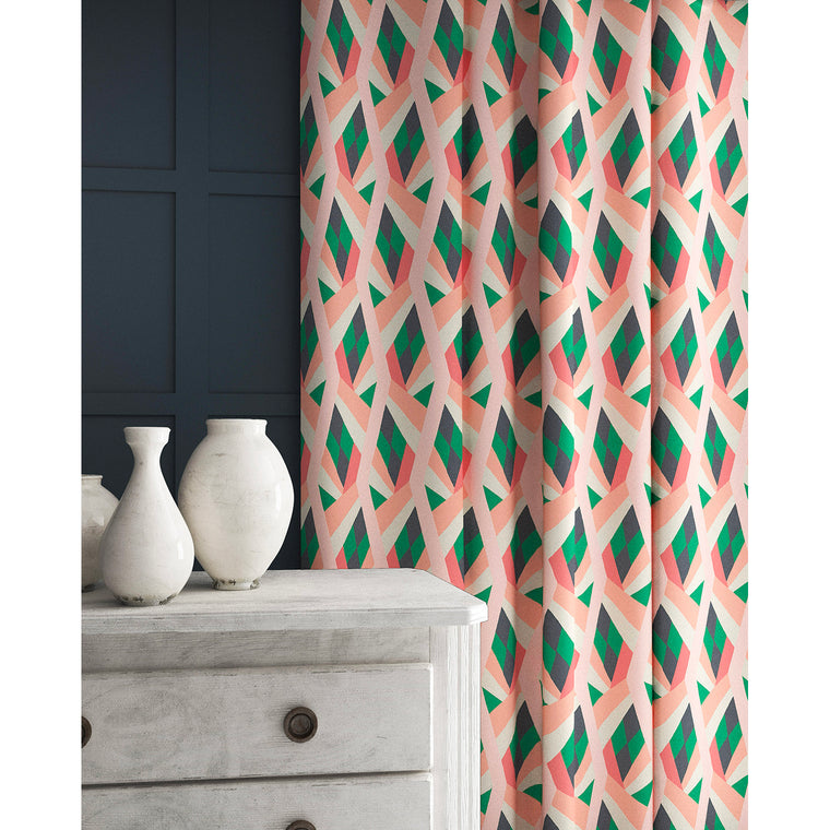 Velvet curtains in a velvet fabric with a stain resistant finish and geometric print in peach and green colours