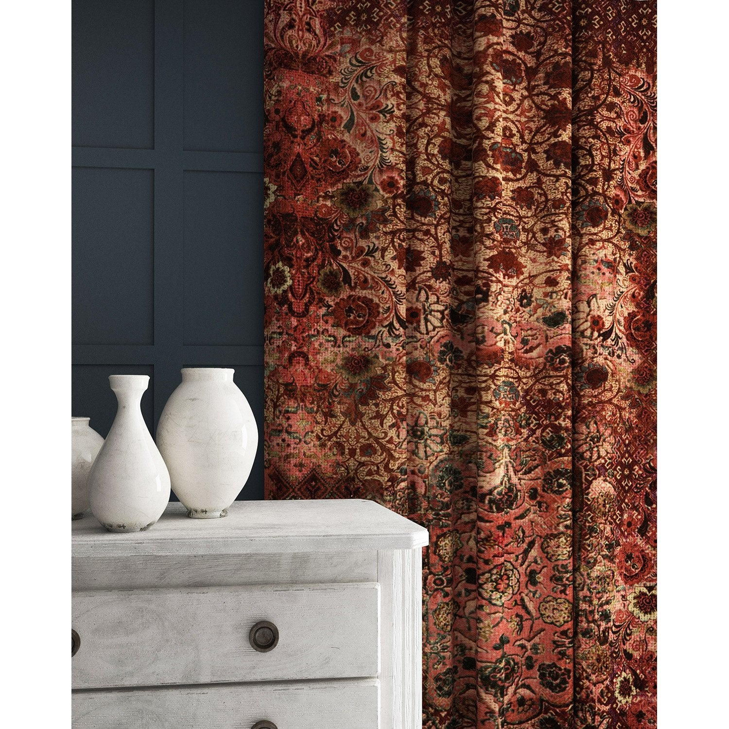 Velvet curtains in a fabric with a carpet design in rich terracotta tones