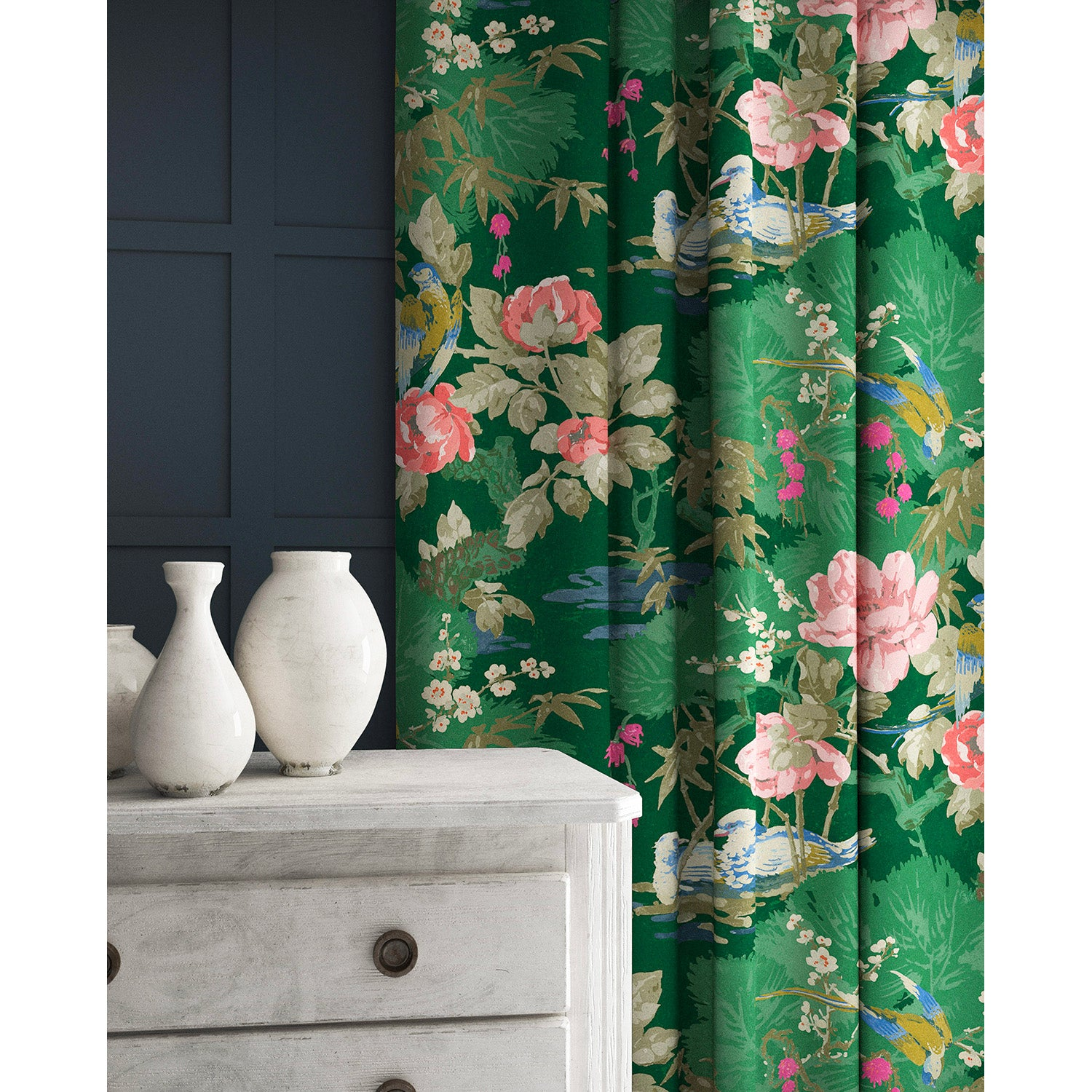 Curtains in a pink and green velvet fabric with stain resistant finish and bird and flower design