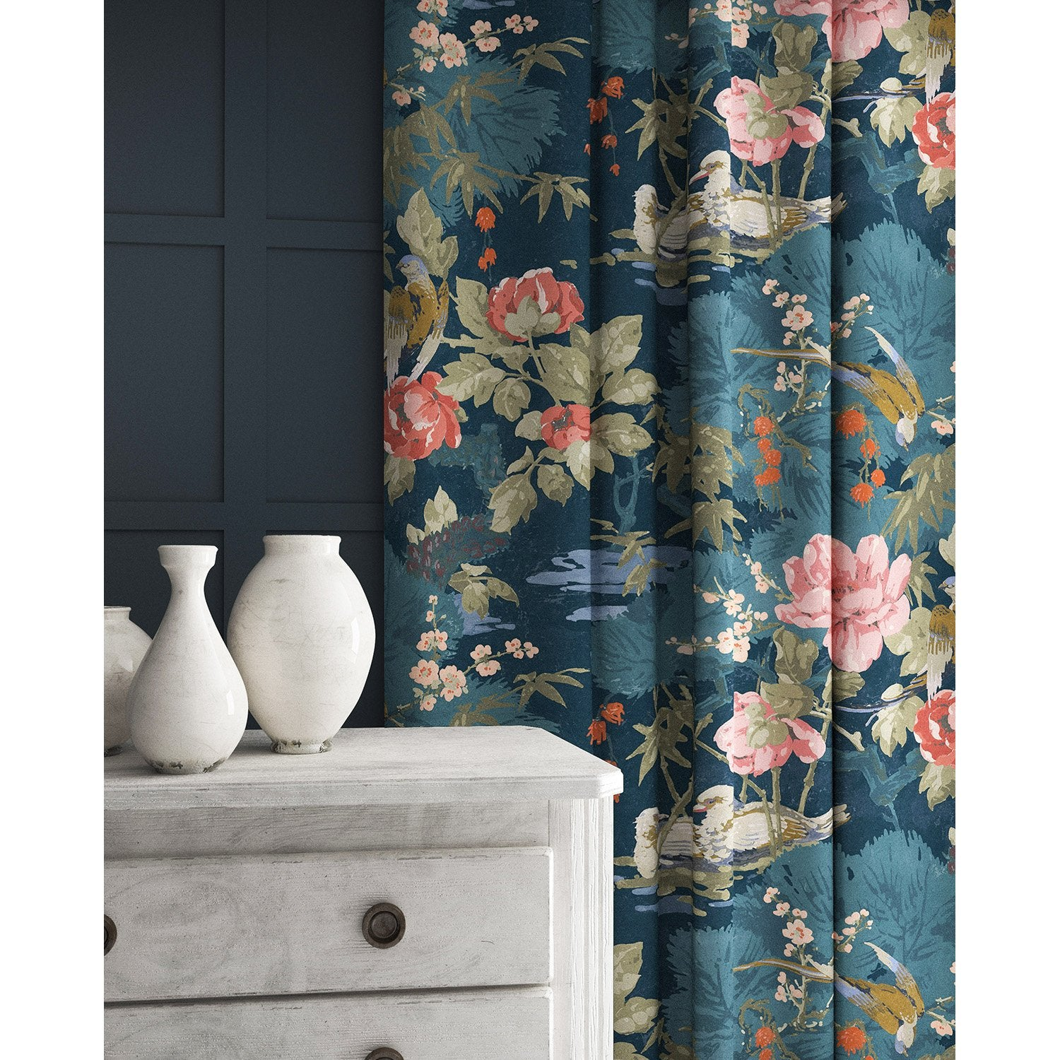 Velvet curtain in a blue velvet upholstery fabric with floral and bird design with a stain resistant finish