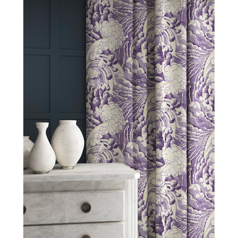 Curtain in a velvet fabric with stain resistant finish with a purple and white wave design