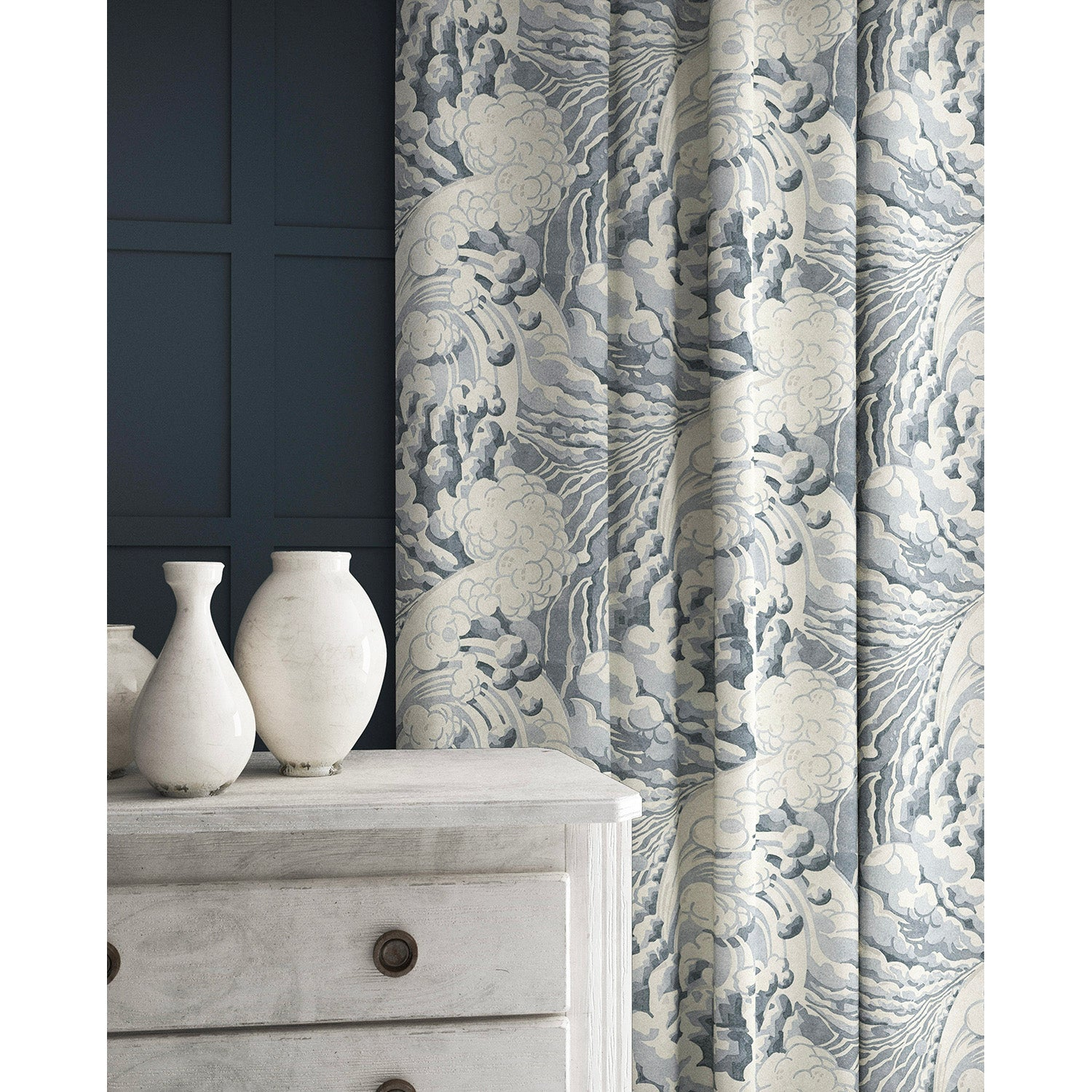 Velvet curtain in a velvet fabric with stain resistant finish with a grey and white wave design