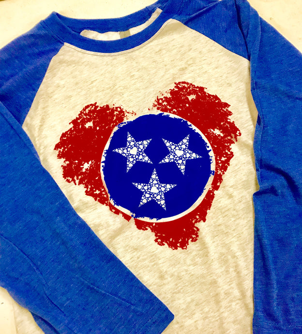 Next Level 3/4 sleeve Tri-Star Heart