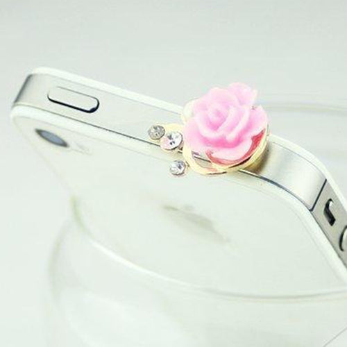 Flower Rhinestone Anti Dust Plug