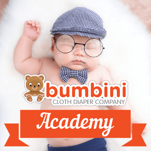 Sleeping baby With Glasses and Blue Cap and Bow Tie Bumbini Cloth Diaper Academy