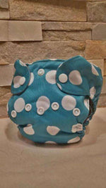 Newborn All in One White Dots on Blue Background Diaper - Bumbini Cloth Diaper Company