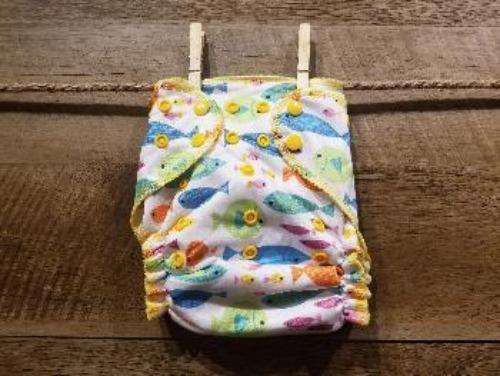 One Size AI2 Multi colored Fishes Diaper System - Bumbini Cloth Diaper Company