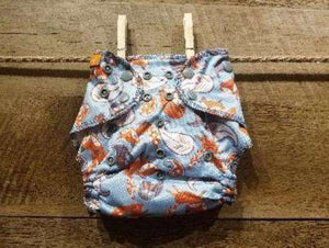 One Size AI2 Foxes on Light Blue Background Diaper System - Bumbini Cloth Diaper Company